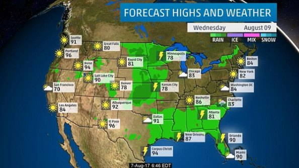 The weather divide is visible in Wednesday's forecast, with most places west of Denver seeing sun and high temperatures, while most places east are colder than usual with rain